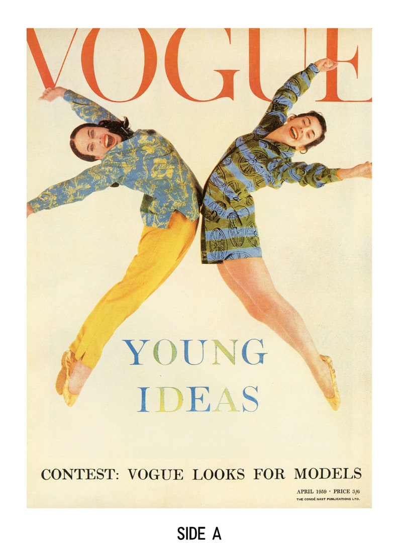 1950s Fashion Art Vogue Magazine Cover 1959 by Norman Parkinson Vintage Book Page Print Fashion Photography Vintage Art for Gallery Wall