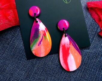 Salmon Dance - Dangle earrings, statement earrings, polymer clay earrings, melbourne earrings, drop earrings, polyclay earrings
