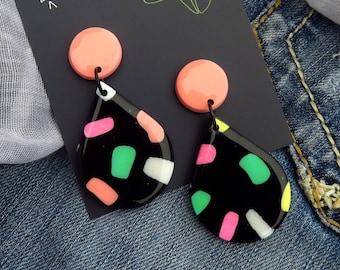Black earrings, polymer clay earrings, resin earrings, liquorice allsorts, Australian gifts, earrings set, jewellery, Australian earrings