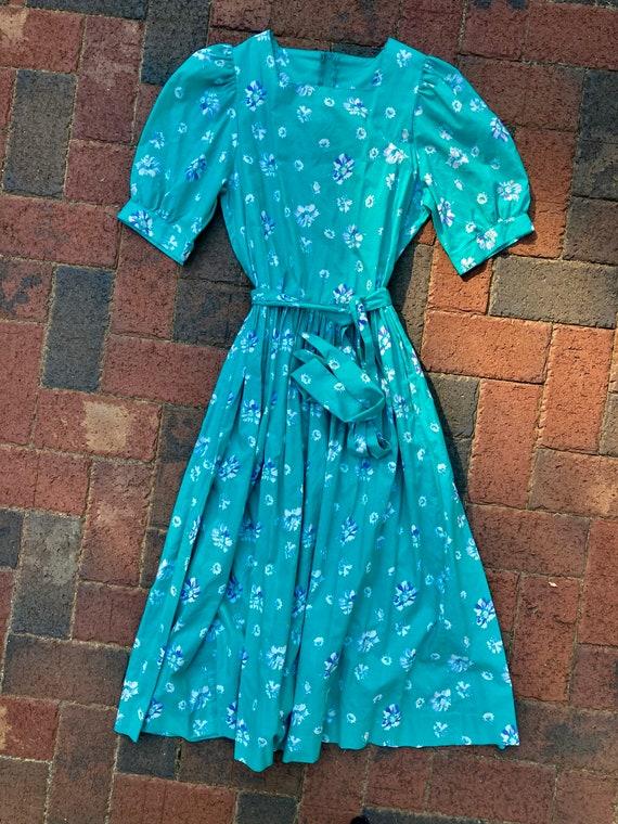 Laura Ashley Teal Vintage Cotton Tea Dress