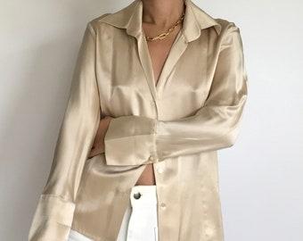 90s 2000s Women/'s Crop Shirt Classic Minimalist Basic Office Green Long Sleeve Shirt Blouse Vintage Silk Green Shirt