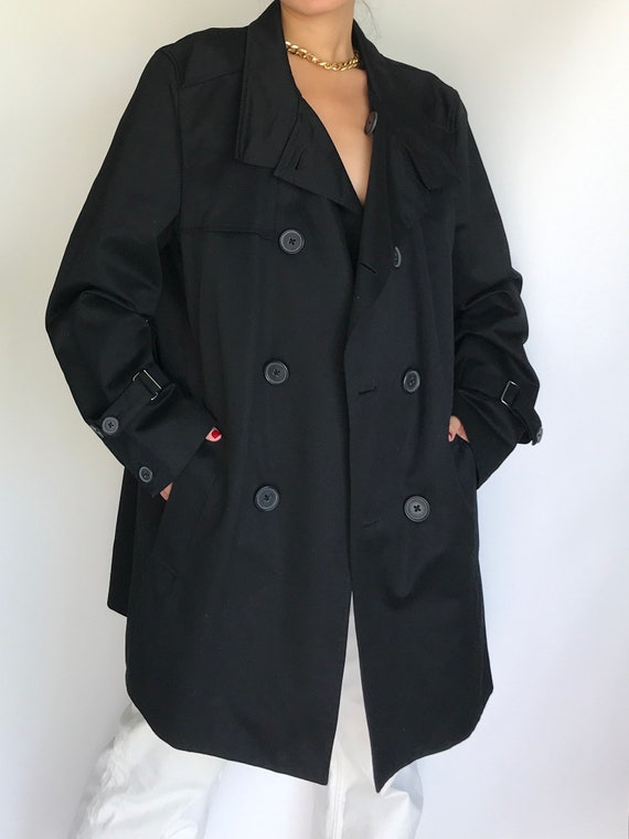 Trench Coat Vintage Black Cotton Double Breasted U