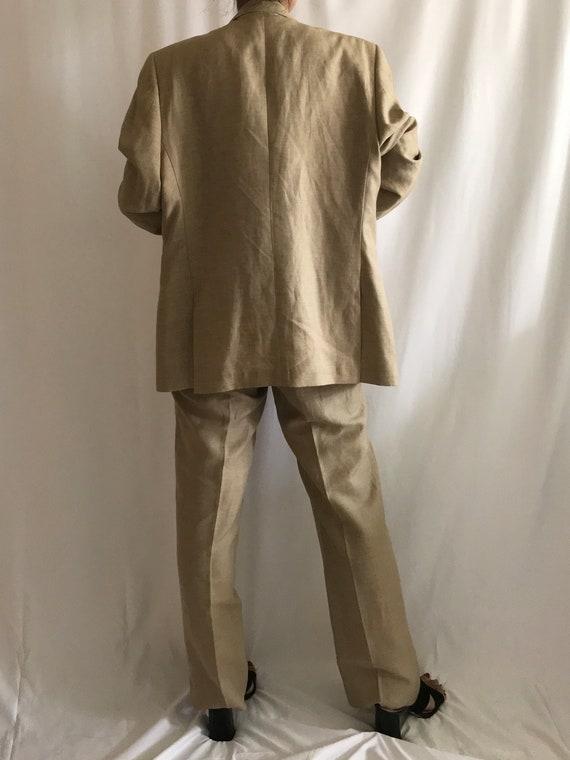 Vintage Pantsuit Beige/Tan Wool Linen Single Brea… - image 5