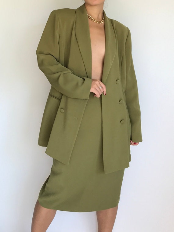 Vintage Skirt Set Olive Green Double Breasted Blaz