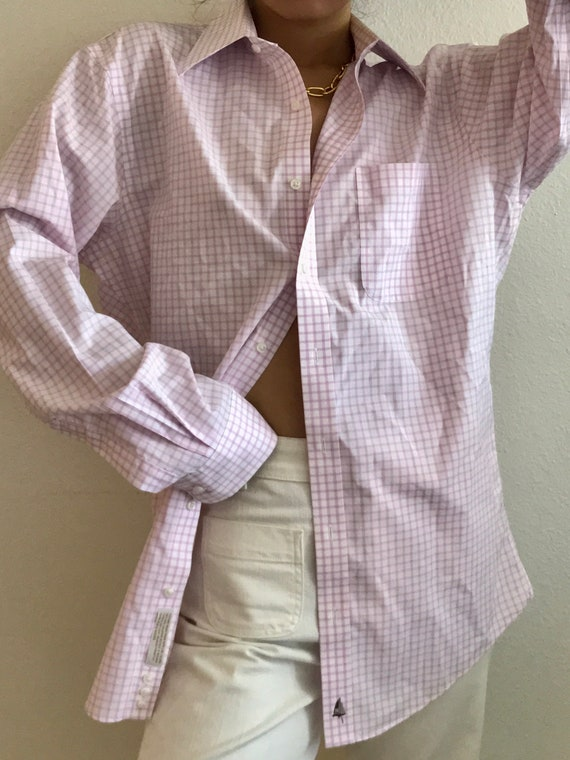 Vintage Shirt NORDSTROM Pink White Gingham Checker