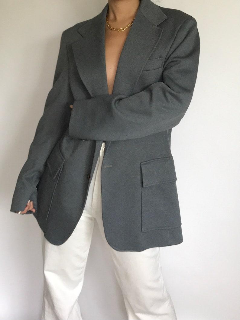 Vintage Gray Blazer Classic Single Breasted Oversized Unisex Suit Jacket Sportcoat Wool Blend FallWinter Minimal Suit Jacket Coat Size ML