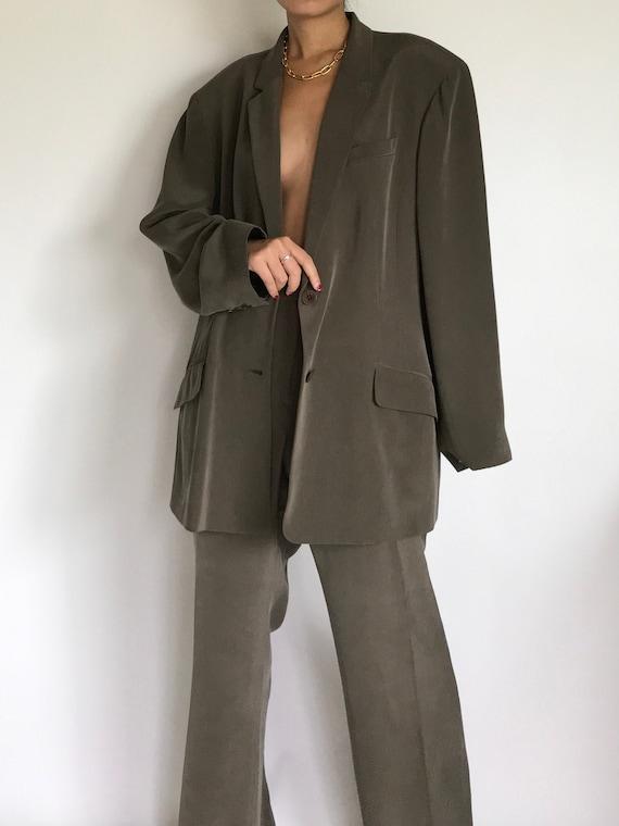Silk Pantsuit Vintage Dark Taupe Green Single Brea