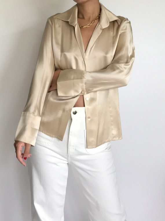 Silk Blouse Vintage Women's Gold Champagne Liquid