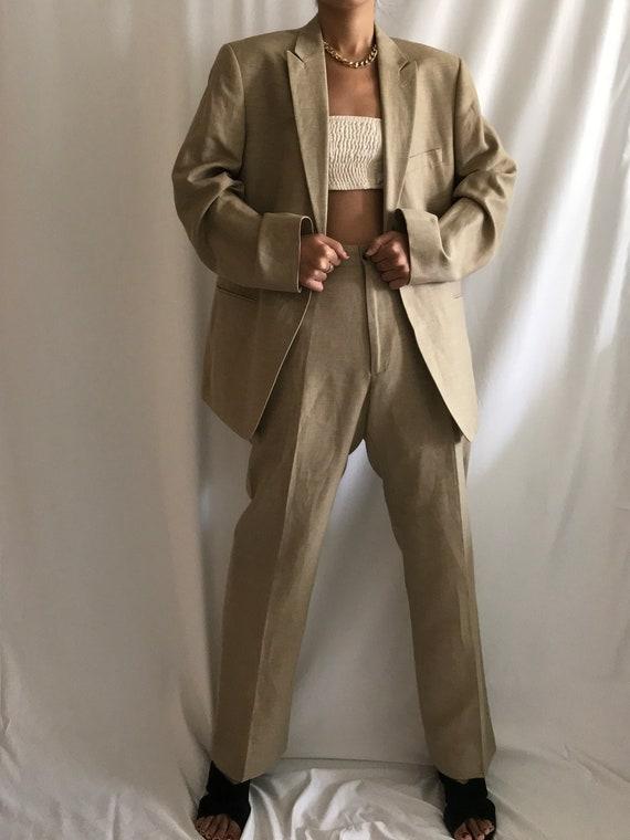 Vintage Pantsuit Beige/Tan Wool Linen Single Brea… - image 2