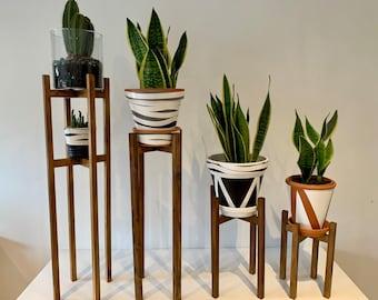 Weisin Wooden Plant Stand Flower Pot Plant Holder,Adjustable Modern Indoor Plant Holder for Indoor Outdoor Potted Plants Rack,large