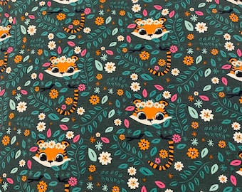 cotton lycra Flower tigers on pink cotton jersey fabric stretch knit fabric sold by the metre fabric for girls extra wide fabric