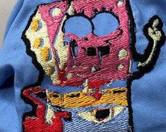 Glitched Spongebob Mr Krabs Mask Blue Cotton Black Elastic Nose wire Filter Pocket - glitch - glitchy - weird - weirdcore - wtf Nickelodeon