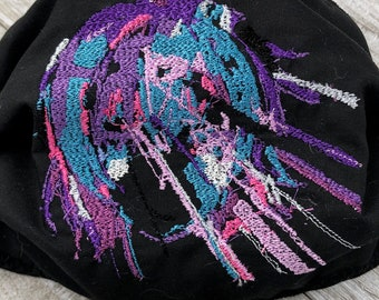 Anime Glitch Mask Black Neon Colors Variant1 Elastic Nose Wire Filter Pocket