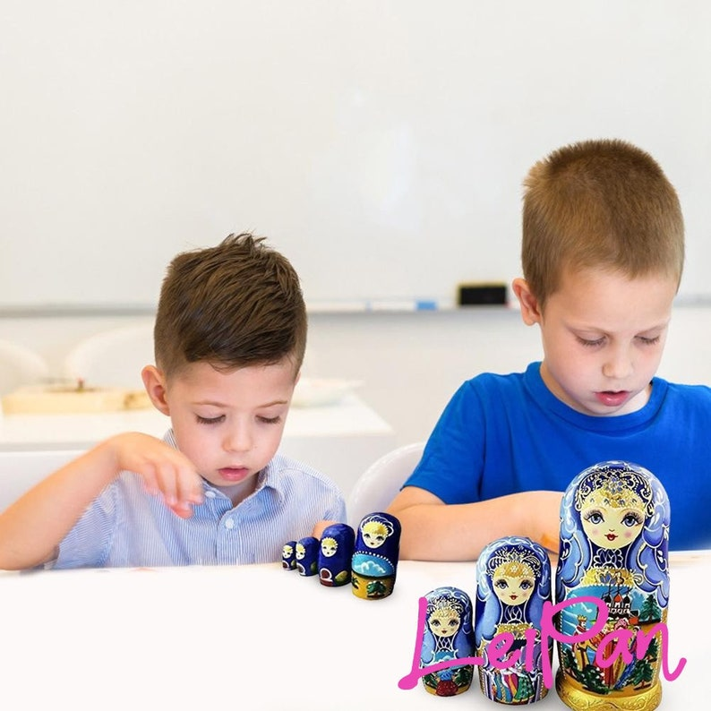 7pcs Wood Russian Doll Set Toy Painted Decor Gift Doll Toys Montessori Early Educational Toys Russian Matryoshka Nesting Doll Girls