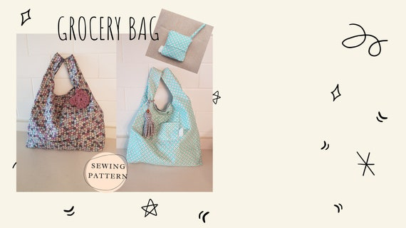 Lined Grocery Bag PDF Sewing Pattern With lining// Foldable