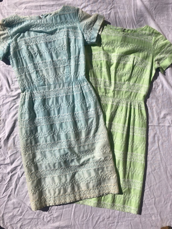 Twin Homemade 1950s/1960s Green and Blue Day Dress