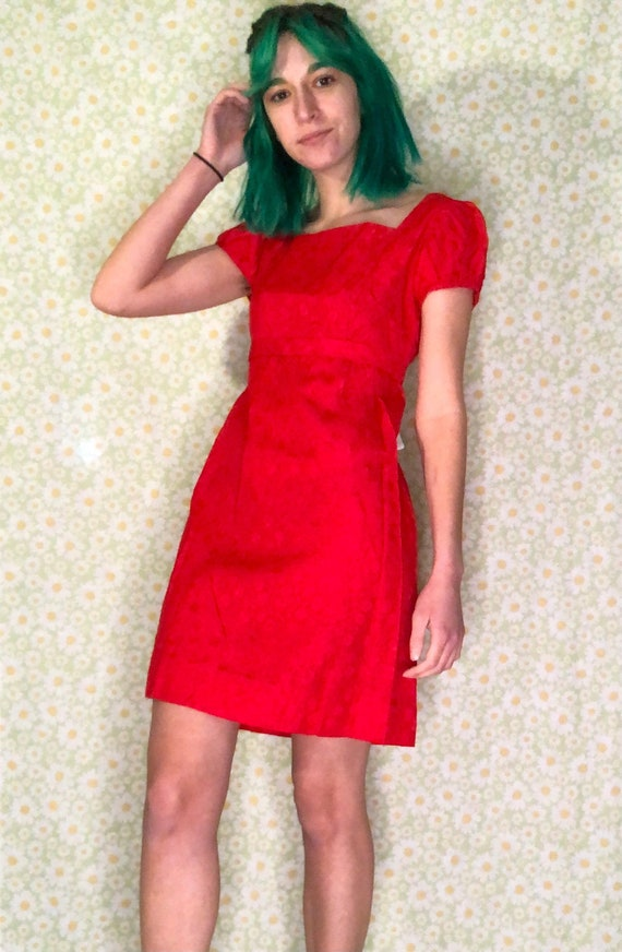 Red 1960s Cocktail Empire Waist Dress