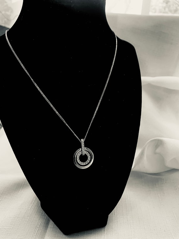 4502 Magnolia Sterling Silver Crystal Circle Pendant Necklace