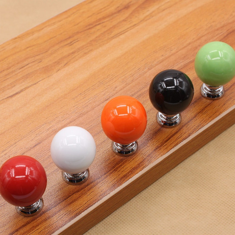 1.2 Green White Orange Red Black Ceramic Drawer Knob Pulls Ball Knobs Cabinet Pulls and Knobs Dresser Knobs Pulls Hardware 30mm W324