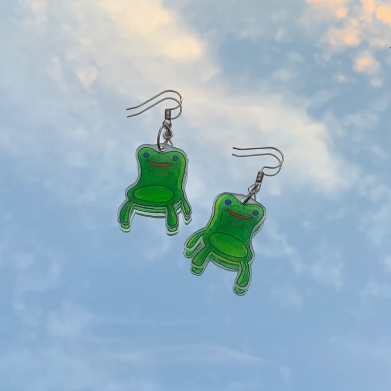handmade froggy chair animal crossing earrings