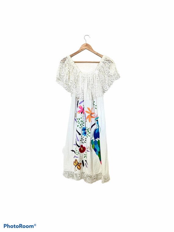 Vintage 1970s Hand Embroidered Mexican Dress