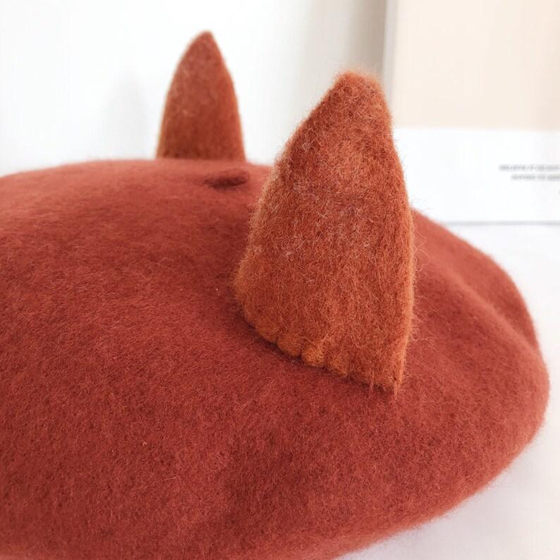 Fox Beret,Handmade Wool Fox Ears hat,Winter hat,Burnt Orange Winter Hat,Basque Beret Hat,Retro Accessory,Women/'s Gift