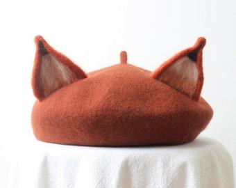 Fox Beret,Handmade Wool Fox Ears hat,Winter hat,Burnt Orange Winter Hat,Basque Beret Hat,Retro Accessory,Women's Gift