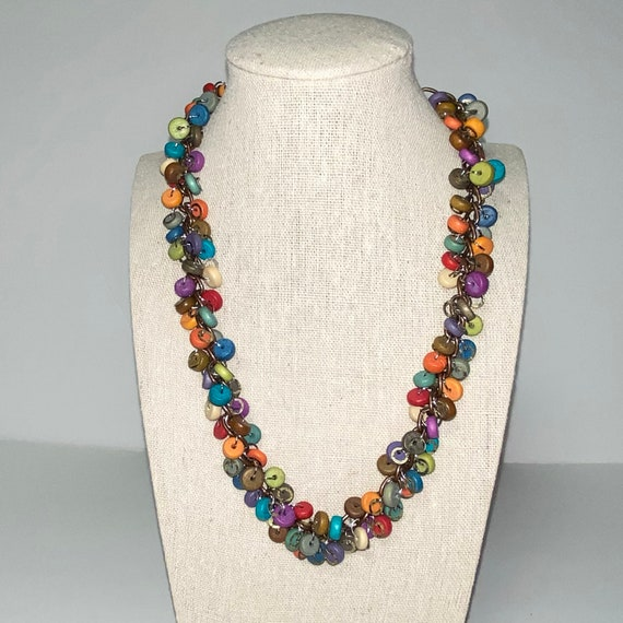 Parrots and Discs Retro Funky Chunky Colorful Necklace with 2 Sets of Earrings