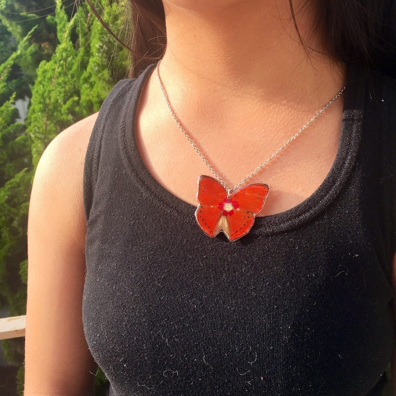 Real Butterfly Wing Necklace Cymothoe Butterfly Red Root Chakra Healing Grounding Necklace