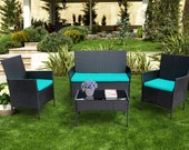 4 Pieces Patio Furniture Sets Rattan Wicker with 2 Cushioned Chairs, 1 Sofa, 1 Glass Top Table