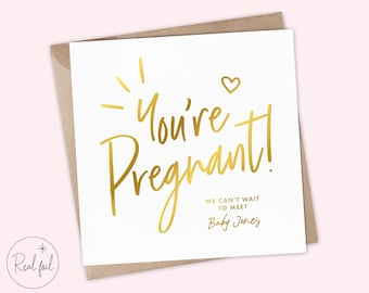 Your're Pregnant! Card, Pregnancy Card, Baby Shower Card, Mummy-To-Be Card, Expecting Baby Shower Card, Baby Girl, Baby Boy, Real Foil, Cute