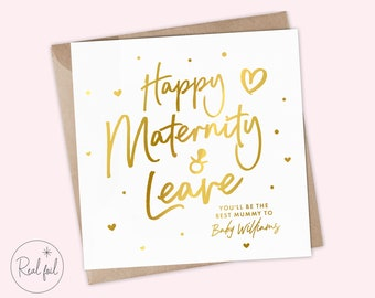 Maternity Card, Maternity Leave Card, Mummy-To-Be Card, Pregnancy Card, Baby Shower Card, Baby Girl, Baby Boy, Real Foil, Cute Keepsake