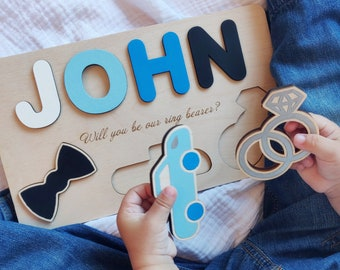 Ring bearer gift Will you be our ring security Personalized name wood puzzle