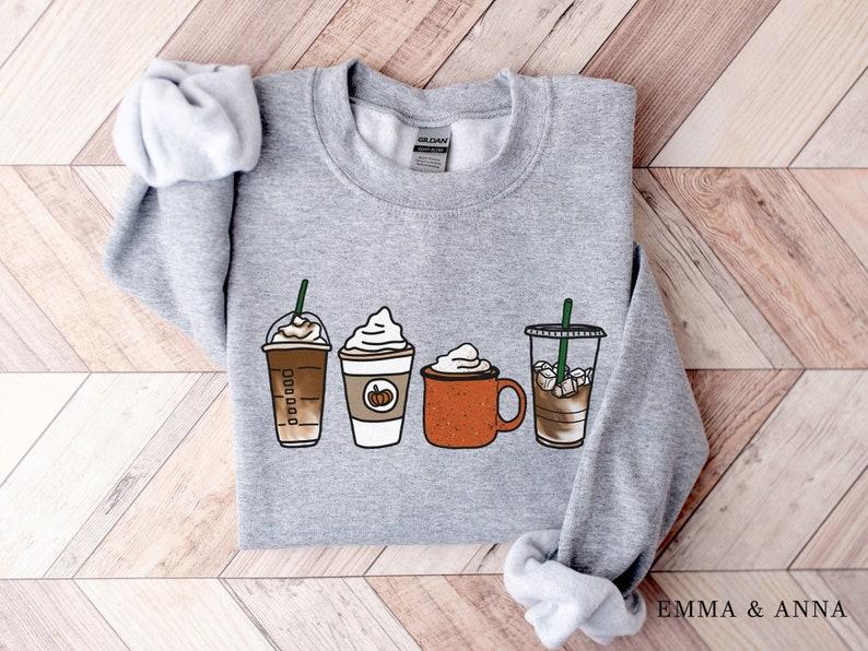 Fall Coffee Sweatshirt Unisex Fall Pullover Pumpkin Spice Sport Grey
