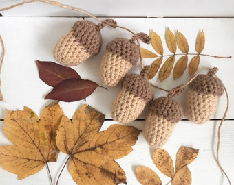 Acorn Garland. Autumn Home Decoration. Crochet Acorns.