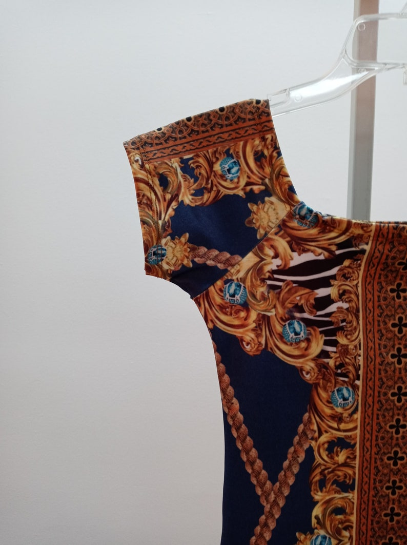 brazilian lycra strech dress versace looks like one blue golden size standard