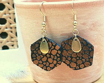 women/'s gift Black leather earrings and copper round hexagon shape stainless steel women/'s jewelry
