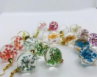 Flower Glass Bauble Earrings / Glass Jewellery / Nature / Cute Earrings / Cottagecore / Fairycore