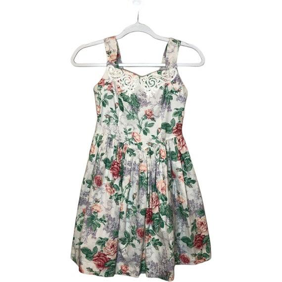 Jessica McClintock Gunne Sax Girls floral dress 8… - image 1