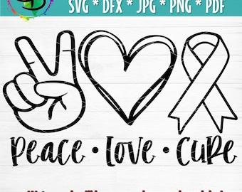 Handmade Peace Love Cure Keychain Cancer Awareness