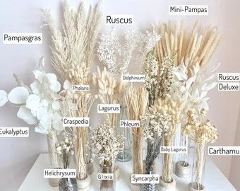 Trockenblumenstrauß, weiß, Pampasgras, Lagurus, Kranz, Deko, Home decor, Set, Arrangements, Eukalyptus, Ring, DIY, Boho, Hochzeitsdeko,Karte