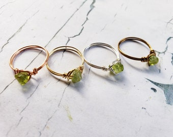Peridot Ring 925 Silver 14k Gold Filled Crystal Wire Wrapped Gemstone Compassion And Health Stone Boho Hippy Ring Style August Birthstone