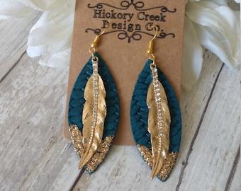 Swarovsi modern chic glamorous sapphire blue earrings crystal drops earrings