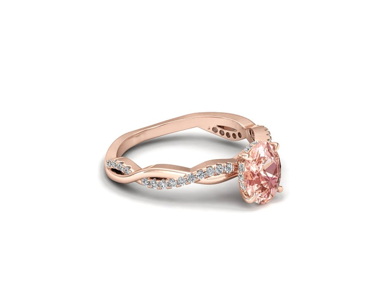 Pink Morganite Engagement Ring Rose Gold Twisted Ring With Diamond Oval Cut Bridal Ring Solitaire Morganite Engagement Ring Pink Stone Ring