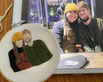 Custom embroidered portrait hand stitched fully colored | family portrait, portrait embroidery | birthday/cotton anniversary gift