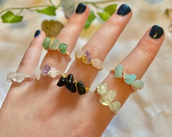 triple crystal rings   wire wrapped crystal rings   crystal