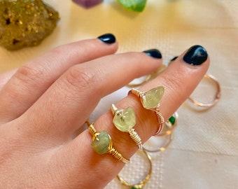 Crystal Rings | Wire Wrapped Rings | Rose Quartz Aquamarine Amethyst Citrine Jasper Green Aventurine Sodalite Labradorite Mookaite Prehnite
