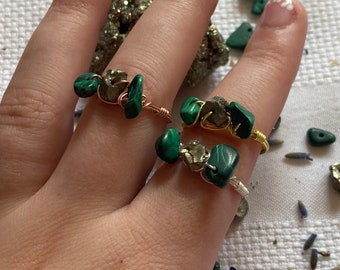 malachite & pyrite rings   wire wrapped rings   triple crystal rings