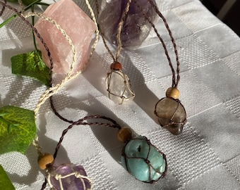 crystal macrame necklaces interchangeable and adjustable   choice between pouch with stone, and pouch without stone