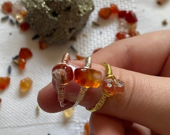 CARNELIAN RINGS   wire wrapped crystal rings   gold, silver, rose gold   genuine carnelian
